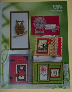 My published card right bottom (green & chocolate brown...Thank U card